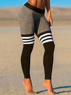 Black Skinny Gym Leggings Women Stripes Yoga Leggings