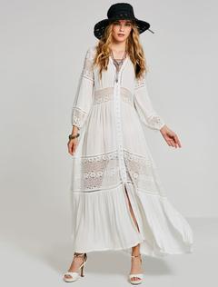 Boho Maxi Dress White Long Dress Lace V Neck Semi Sheer Bohemian Dress For Women
