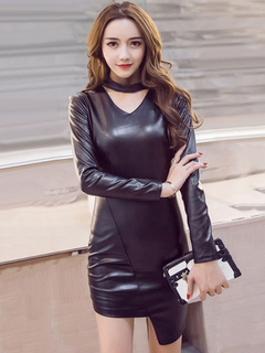 Black Club Dress PU Long Sleeve V Neck Bodycon Dress For Women