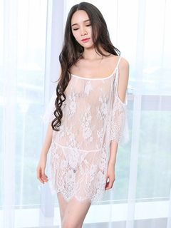Black Lace Gown Lingerie Sheer Open Shoulder Slip Nightdress With Thong For Women