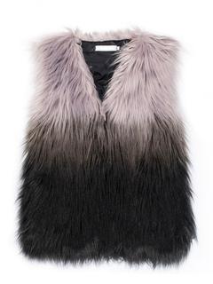 Colorful Faux Fur Vest V Neck Sleeveless Ombre Winter Gilet For Women