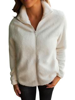 White Faux Fur Jacket Long Sleeve Turndown Collar Winter Coats For Women