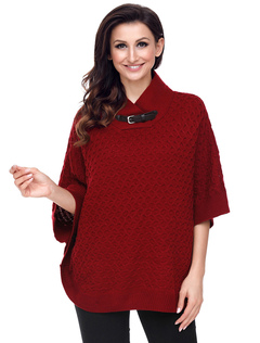 Women Sweater Poncho Burgundy High Collar Half Sleeve Pullover