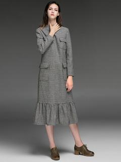 Women Dress Wool Party Dress Deep Grey Stand Collar Long Sleeve Plaid Vintage Dress