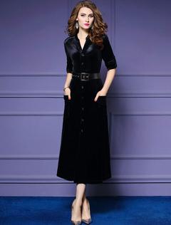 Black Maxi Dress Velour Long Sleeve Work Dress V Neck Women Shirt Dress