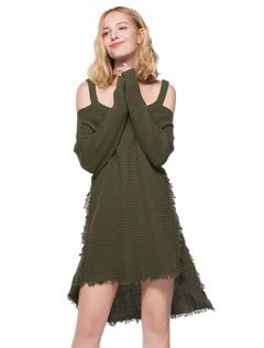 Women Sweater Dress Cold Shoulder High Low Hunter Green Knitted Dress