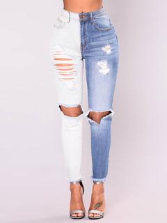 Women Denim Jeans Blue Ripped Jeans Two Tone Zipper Fly Boyfriend Jeans