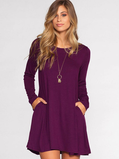 Women T Shirt Dress Burgundy Short Dress Round Neck Long Sleeve Shift Dress