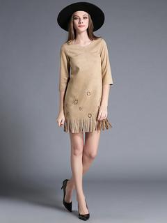 Women Mini Dress Suede Khaki Round Neck Half Sleeve Short Dress With Fringe