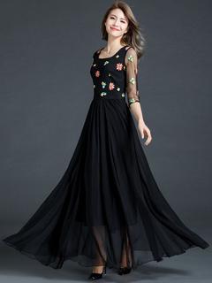 Maxi Party Dress Black Women Chiffon Square Neckline Embroidered Half Sleeve Formal Dress