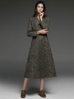 Wool Dress Women V Neck Long Sleeve Midi Dress