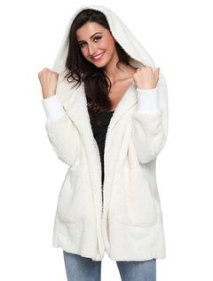 Faux Fur Coat Women Coat White Hooded Long Sleeve Shearling Coat