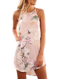 Women Floral Summer Dress Boho Strappy Tropical Print Sleeveless Mini Dress