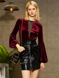 Women Blouses Velour Long Sleeve Round Neck Burgundy Vintage Top