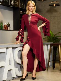 Women Maxi Dresses Lace Bell Sleeve Round Neck Burgundy Long Dress