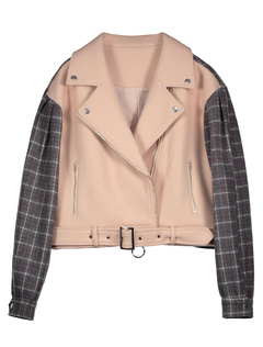 Women Short Jacket Apricot Long Sleeve Notch Collar Buckled Plaid Jackets
