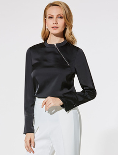 Black Blouses Long Sleeve Round Neck Women Top