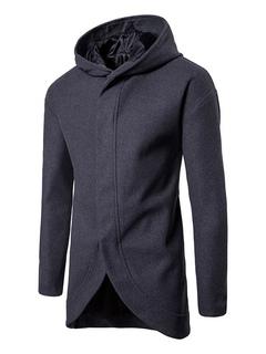 Giaccone casual tessuto di lana monocolore incappucciato inverno normale  vestibilità Classico 3f39270a0bd