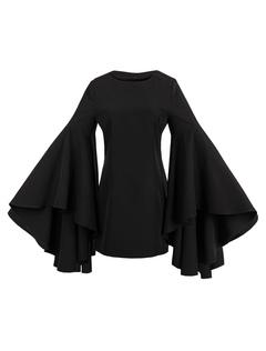 Little Black Dress Mini Party Dress Bell Sleeve Ruffle Women Bodycon Dress