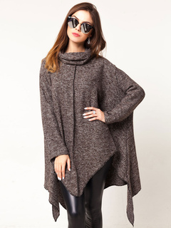 Women Poncho Coat Brown Cowl Neck Long Sleeve Oversized Cape Coat