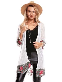 Kimono Cover Up White Lace Embroidered Long Sleeve Women Cardigan Jacket