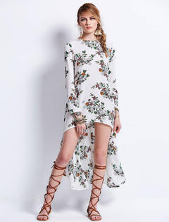 White Boho Dress Round Neck Long Sleeve High Low Floral Dresses For Women