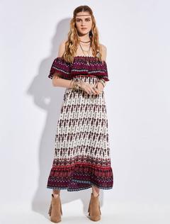 Boho Maxi Dresses Off The Shoulder Half Sleeve Pom Poms Long Dress For Women