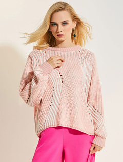 Women Sweater Wool Pink Round Neck Long Sleeve Knit Top