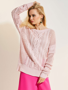Women Wool Sweater Pink Round Neck Long Sleeve Cut Out Knit Top