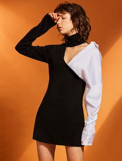 Black Mini Dress Women Short Dress High Collar Long Sleeve Shift Dress