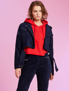 Women Short Jacket Long Sleeve Deep Blue Turndown Collar Spring Jacket