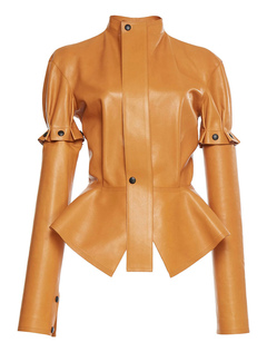 Women Jacket Leather Like Convertible Sleeve Peplum Stand Collar Short Jacket