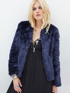 Faux Fur Overcoat Open Front Long Sleeve Dark Navy Women Winter Coat