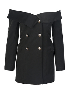 Black Blazer Jacket Off The Shoulder Long Sleeve Pea Coat For Women