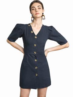 Women Dress Blue Vintage Puff Sleeve V Neck Button Women Spring Mini Dress