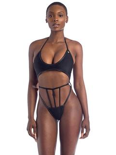Black Sexy Swimsuit One Piece Cut Out Halter Women Beach Bathing Suit