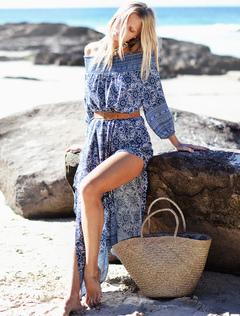 Boho Maxi Dress Off The Shoulder High Slit Three Quarter Sleeve Ethnic Print Blue Long Dress