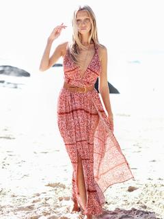Boho Maxi Dress Women Chiffon Red Halter Ethnic Print Backless Split Beach Dress