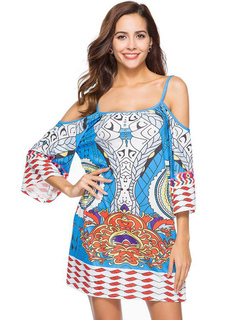 Beach Summer Dress Cold Shoulder 3/4 Sleeve Ethnic Print Women Shift Dress