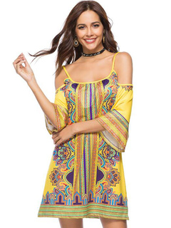 Yellow Women Dress Cold Shoulder Ethnic Print 3/4 Sleeve Summer Dress