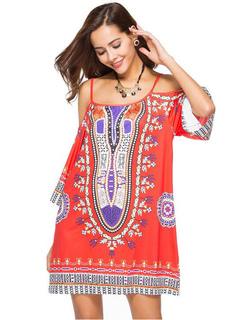 Women Summer Dress Cold Shoulder 3/4 Sleeve Ethnic Print Red Shift Dress