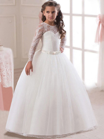 257691a5d4cc White Flower Girl Dresses Princess Pageant Dress Long Sleeve Lace Ball Gowns  Kids Bow Sash Floor