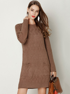 Women Sweater Dress Pocket Long Sleeve Shift Dress