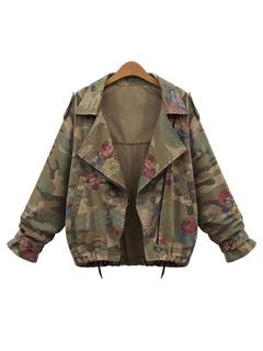 Women Military Jacket Camo Print Long Sleeve Turndown Collar Green Cargo Jackets
