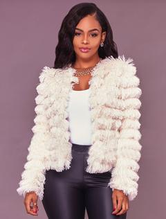 Faux Fur Jacket White Long Sleeve Winter Coats For Women