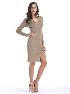 Women Knitted Bodycon Dress Khaki V Neck Slit Long Sleeve Sweater Dress