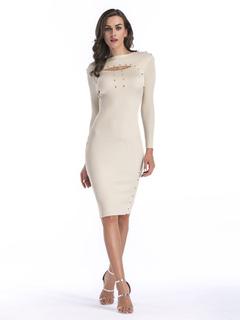 Women Bodycon Dress Bateau Neckline Cut Out Studded Long Sleeve Apricot Knit Dress