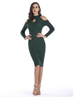 Women Bodycon Dress Knitted Long Sleeve Keyhole Neckline Cold Shoulder Atrovirens Sweater Dress