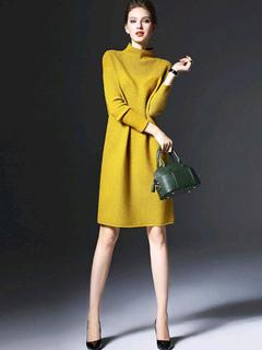 Women Sweater Dress Yellow Knitted High Collar Long Sleeve Shift Dress