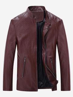 Giacca di Pelle da Uomo chic   moderna con colletto alla coreana monocolore  abbigliamento giornaliero con f7f50c08ed3